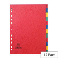 Elba Heavyweight 225gsm Pressboard Dividers Europunched Jan-Dec A4 Assorted Ref 400007517