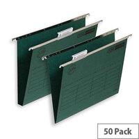 Elba Ultimate Vertical Suspension File 240gsm Manilla 30mm Foolscap Green Ref 100331114 [Pack 50]