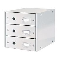 Leitz Click and Store 3 Drawer Cabinet Collapsible Cabinet A4 White Ref 60480001