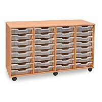 Trexus by Monarch Mobile Unit Complete with 32 Clear Shallow Trays Beech Ref MEQ32W-32 Clear