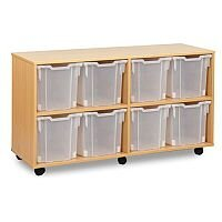 Trexus by Monarch Mobile Unit With 8 Clear Jumbo Trays Beech Ref MEQ1021-8 Clear