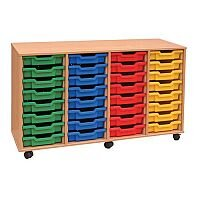 Trexus by Monarch Mobile Unit Complete with 32 Coloured Shallow Trays Beech Ref MEQ32W-32 Coloured