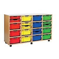 Trexus by Monarch Mobile Unit With 16 Coloured Deep Trays Beech Ref MEQ4016-32 Coloured