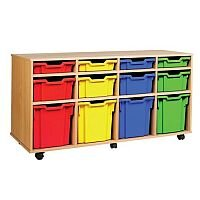 Trexus by Monarch Mobile Unit With 12 Coloured Mixed Size Trays Beech Ref MEQ1031-12 Coloured