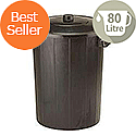 Refuse Bin With Lid and Metal Clip Handles 80 Litre Black Ref GN346
