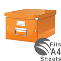 Leitz WOW Click and Store Medium Storage Box For A4 Orange Ref 60440044