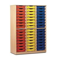 Trexus by Monarch Tray Cupboard Without Doors 48 Coloured Shallow Trays Beech Ref MEQ48ND-48 Coloured