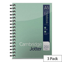 A5 Notebook Wirebound 80gsm Ruled 200pp Ref 400039063 Cambridge Jotter [Pack 3]