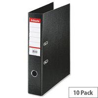 Esselte Lever Arch File Polypropylene Foolscap 75mm Black Pack of 10