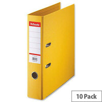 Esselte A4 Polypropylene 75mm Yellow Lever Arch File Pack of 10