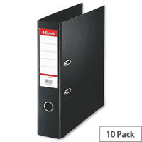 Esselte A4 Polypropylene 75mm Black Lever Arch File Pack of 10