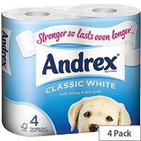 Andrex Classic White Toilet Tissue Paper Rolls Pack of 4 Ref M01389