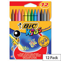 Bic Kids Plastidecor Crayons Sharpenable Vivid Assorted Colours Pack 12