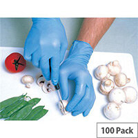 Shield Nitrile Powdered Gloves Large Blue Pack of 100