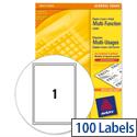 Avery 3478 White Multi-Function Copier Labels 1 per Sheet A4 100 Labels