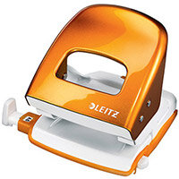 Leitz Durable Medium-Duty Metal Hole Punch  Metallic Orange  30 Sheets of 80gsm Paper