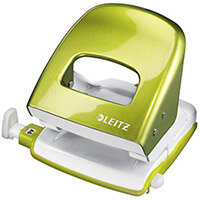 Leitz Durable Medium-Duty Metal Hole Punch  Metallic Green  30 Sheets of 80gsm Paper