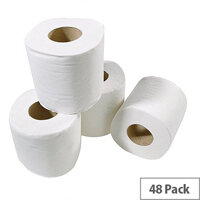 White Box Toilet Tissue 2 Ply Paper Toilet Paper Rolls White Pack of 48
