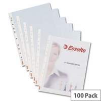 Esselte Plastic Punched Pockets Heavyweight A4 Clear 55 Micron Pack 100