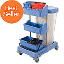 Numatic Xtra-Compact XC-1 Cleaning Trolley with 3 Buckets and 2 Tray Units