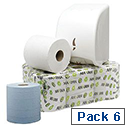 Maxima Green 2 Ply Blue Centrefeed Paper Hand Wiper 150 Metres (Pack of 6)
