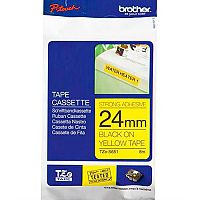 Brother P-touch TZe-S651 24mm x 8m Black On Yellow Strong Adhesive Laminated Labelling Tape