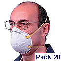 3M Respirator Mask Unvalved FFP1 Classification White with Yellow Straps 8710E Pack 20