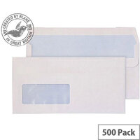 Purely Everyday White DL Wallet Self Seal Low Window Envelopes 100gsm Pack of 500