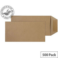 Purely Everyday Manilla DL Pocket Self Seal Envelopes 80gsm Pack of 500