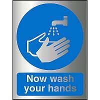 Brushed Aluminium Effect Acrylic Sign 2mm150x200 Now Wash Your Hands Ref BACM001150x200