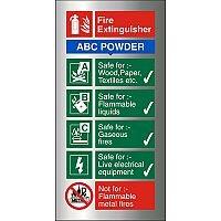 Brushed Aluminium Sign 100x200 1.5mm Fire Extinguisher ABC Powder