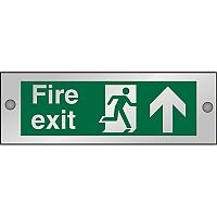 Clear Sign 300x100 5mm Fire Exit Man Running Right & Arrow Pointing Up