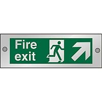 Clear Sign 300x100 5mm Fire Exit Man Running  Arrow Pointing Up Right