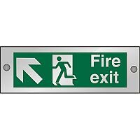Clear Sign 300x100 5mm Fire Exit Man Running Arrow Pointing Up Left