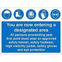 Construction Boar Safety Sign 3mm Foam PVC Entering Designated Area Ref CON009FB600x450