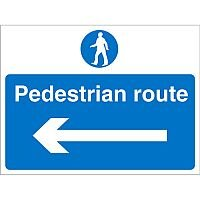 Construction Boar Safety Sign 4mm Fluted Pedestrian RouteLeft Arrow Ref CON012Cx600x450