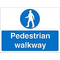 Construction Board 600x450 Safety Sign 4mm Fluted Pedestrian Walkway