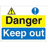 Construction Board 600x450 Safety Sign 3mm foam PVC Danger Keep Out