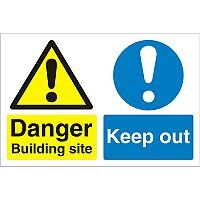 Construction Safety Sign Boar 3mm Foam PVC Building Site Keep Out Ref CON050FB600x450