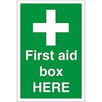 Construction Board 400x600 Safety Sign 3mm Foam PVC First Aid Box Here