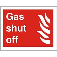 Photolu Fire Fighting Sign 200x300 1mm Plastic Gas Shut Off
