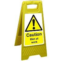 Free Standing Floor Sign 300x600 Poly Caution Men at Work Ref FSS003300x600