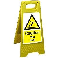 Free Standing Floor Sign 300x600 Poly Caution Wet Floor Ref FSS004300x600