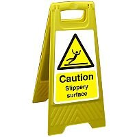 Free Standing Floor Sign 300x600 Poly Caution Slippery Surface Ref FSS005300x600