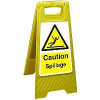 Free Standing Floor Sign 300x600 Poly Caution Spillage Ref FSS006300x600