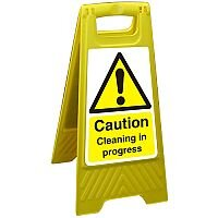 Free Standing Sign 300x600 Poly Caution Cleaning in Progress Ref FSS007300x600