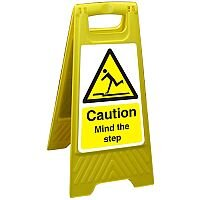 Free Standing Floor Sign 300x600 Poly Caution Mind the Step Ref FSS010300x600