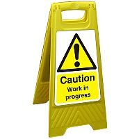 Free Standing Floor Sign 300x600 Poly Caution Work in Progress Ref FSS011300x600