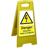 Floor Sign 300x600 Poly Danger Electriical Work in Progress Ref FSS012300x600