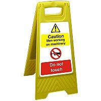 Free Standing Sign 300x600 Caution Men Working on Machinery Ref FSS014300x600